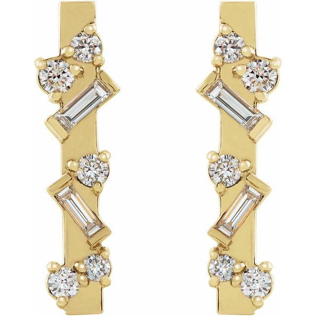 14K Yellow 1/4 CTW Diamond Scattered Bar Earrings