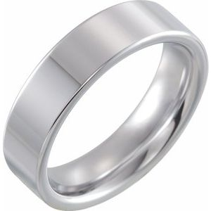White Tungsten 6 mm Flat Band Size 10