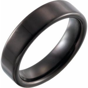 Black PVD Tungsten 6 mm Flat Band Size 6.5