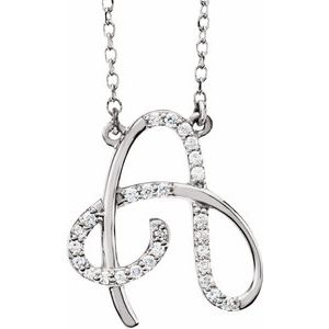 "14K White 1/10 CTW Diamond Initial A 16"" Necklace"