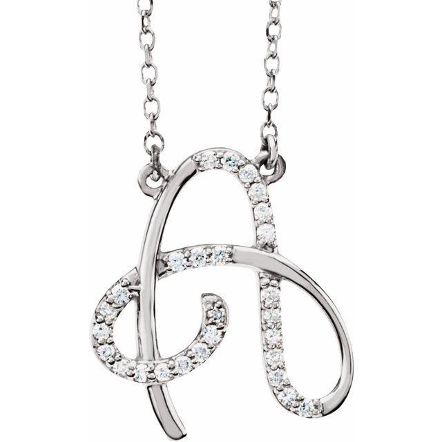 14K White 1/10 CTW Diamond Initial A 16