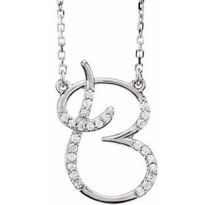 "14K White 1/10 CTW Diamond Initial B 16"" Necklace"