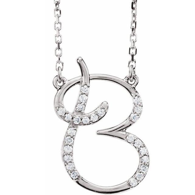 14K White 1/10 CTW Diamond Initial B 16