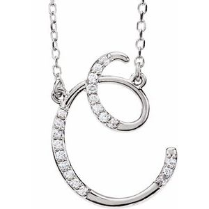 "14K White 1/10 CTW Diamond Initial C 16"" Necklace"