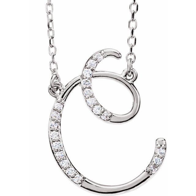 14K White 1/10 CTW Diamond Initial C 16