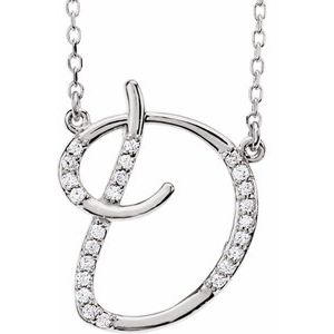 "14K White 1/10 CTW Diamond Initial D 16"" Necklace"