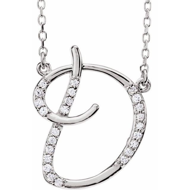 14K White 1/10 CTW Diamond Initial D 16