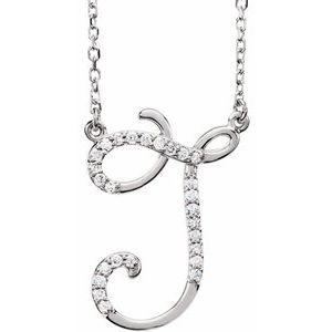 "14K White 1/10 CTW Diamond Initial J 16"" Necklace"