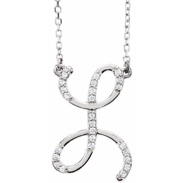 14K White 1/10 CTW Diamond Initial L 16