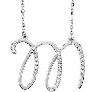 "14K White 1/10 CTW Diamond Initial M 16"" Necklace"