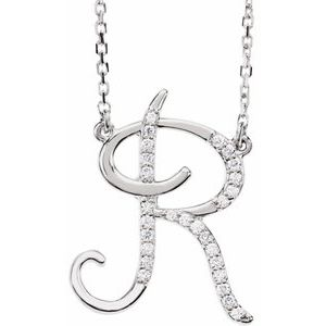 "14K White 1/10 CTW Diamond Initial R 16"" Necklace"