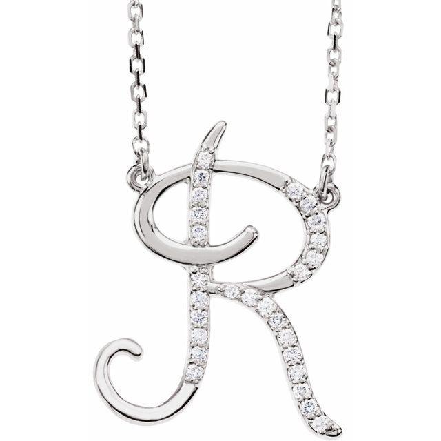 14K White 1/10 CTW Diamond Initial R 16