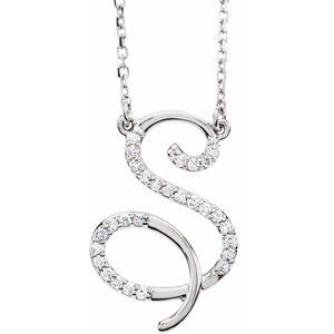 "14K White 1/8 CTW Diamond Initial S 16"" Necklace"