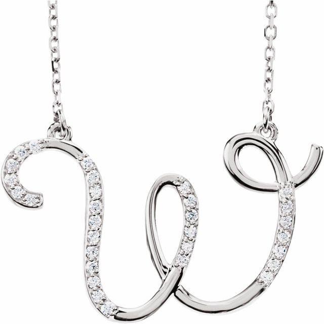 14K White 1/10 CTW Diamond Initial W 16