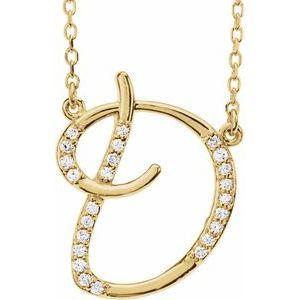 "14K Yellow 1/10 CTW Diamond Initial D 16"" Necklace"