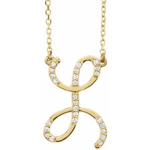 "14K Yellow 1/10 CTW Diamond Initial L 16"" Necklace"