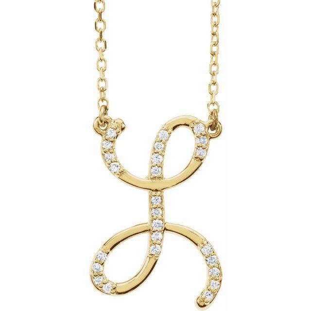 14K Yellow 1/10 CTW Diamond Initial L 16