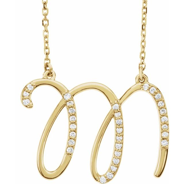 14K Yellow 1/10 CTW Diamond Initial M 16