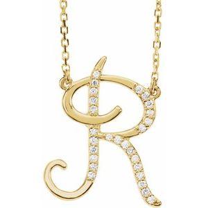 "14K Yellow 1/10 CTW Diamond Initial R 16"" Necklace"