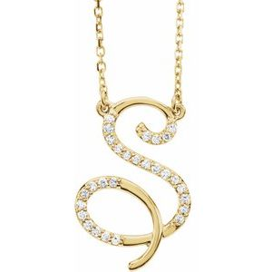 "14K Yellow 1/8 CTW Diamond Initial S 16"" Necklace"