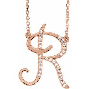 "14K Rose 1/10 CTW Diamond Initial R 16"" Necklace"