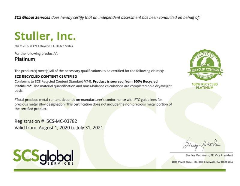 SCS Platinum Certificate