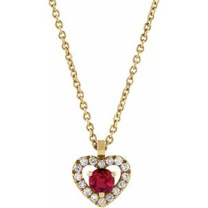 "14K Yellow Ruby & .06 CTW Diamond Heart 18"" Necklace"