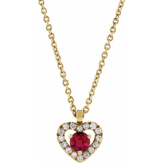 14K Yellow Ruby & .06 CTW Diamond Heart 18