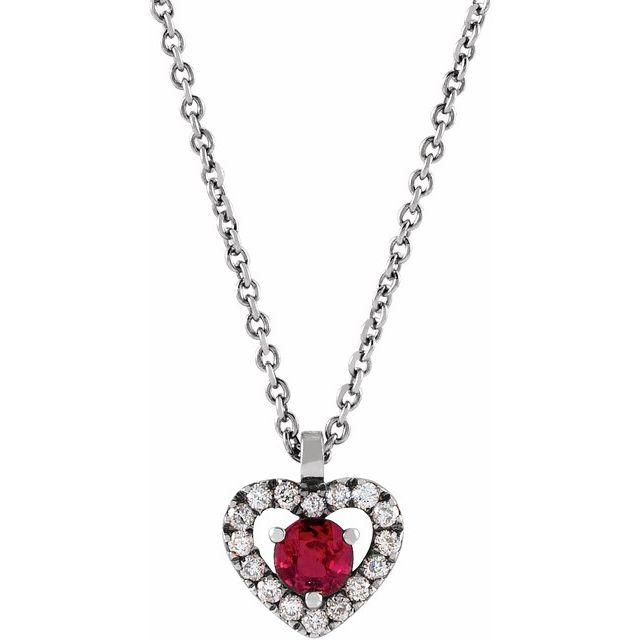 14K White Ruby & .06 CTW Diamond Heart 18
