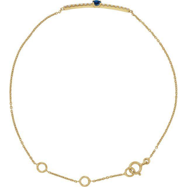 "14K Yellow Blue Sapphire & .07 CTW Diamond Bar 5-7"" Bracelet"