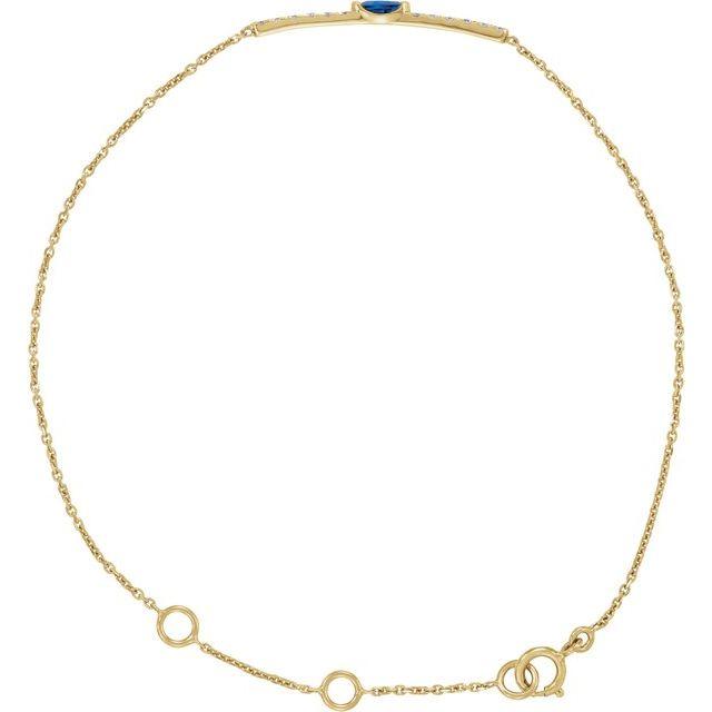 14K Yellow Blue Sapphire & .06 CTW Diamond Bar 5-7
