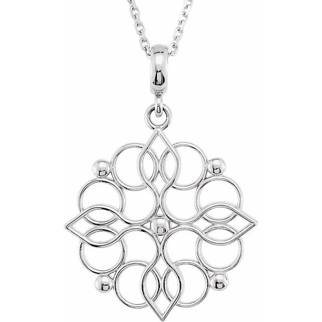 Sterling Silver 27x18.75 mm Floral-Inspired 18