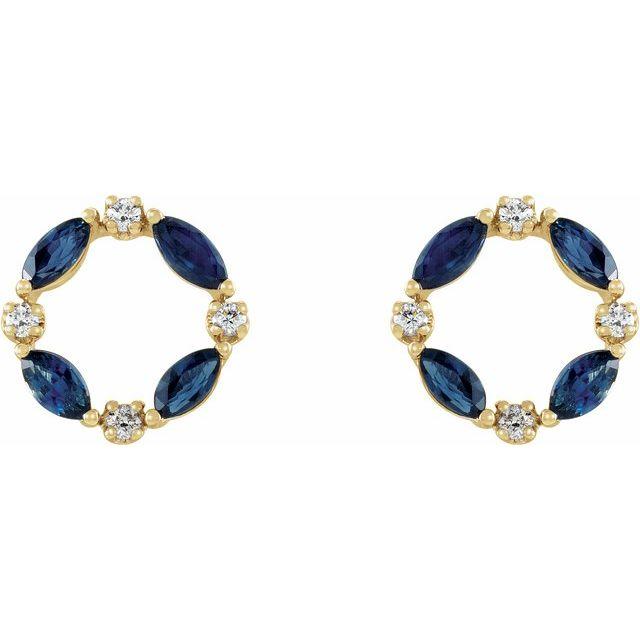 14K Yellow Blue Sapphire & 1/10 CTW Diamond Circle Earrings