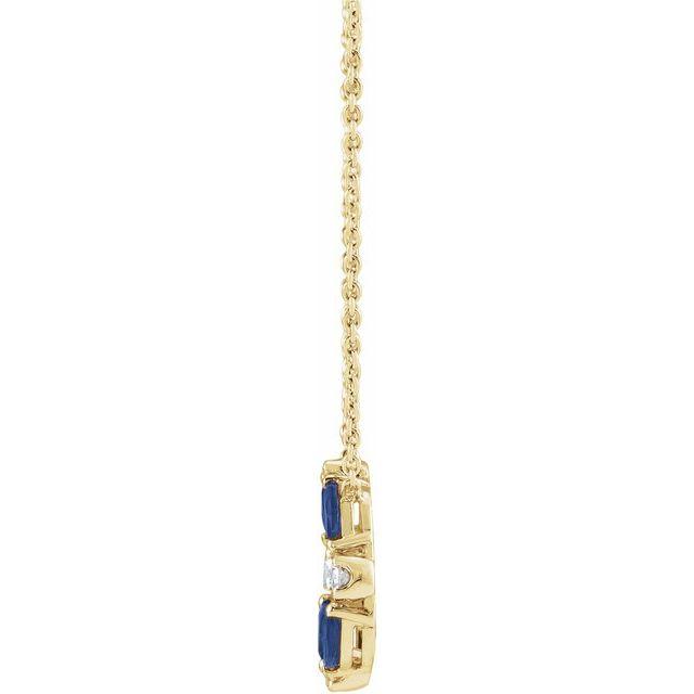 14K Yellow Blue Sapphire & 1/10 CTW Diamond Circle 18