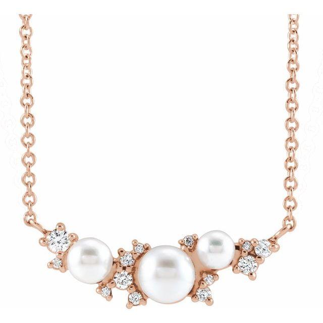 14K Rose Akoya Cultured Pearl & .08 CTW Diamond 18