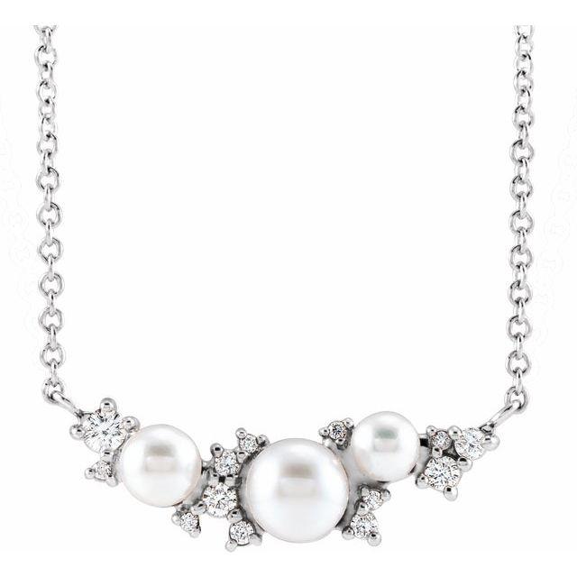 14K White Akoya Cultured Pearl & .08 CTW Diamond 16