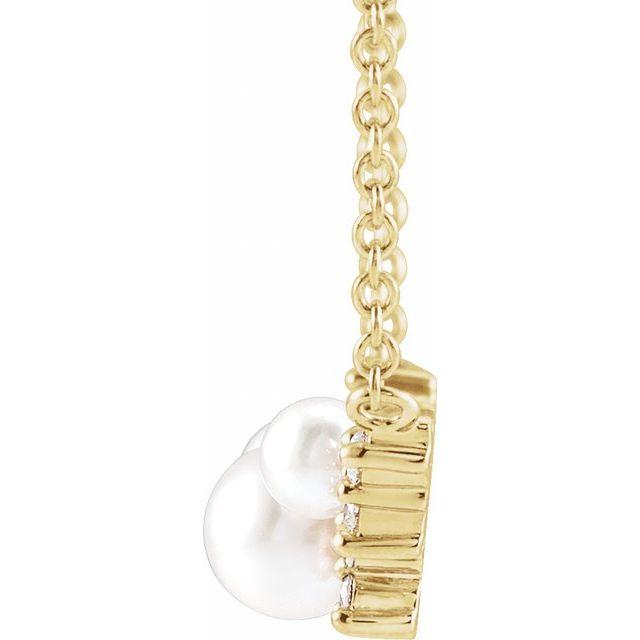 14K Yellow Akoya Cultured Pearl & .08 CTW Diamond 16
