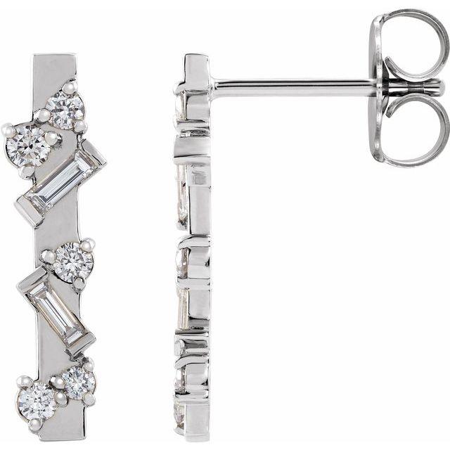 14K White 1/4 CTW Diamond Scattered Bar Earrings