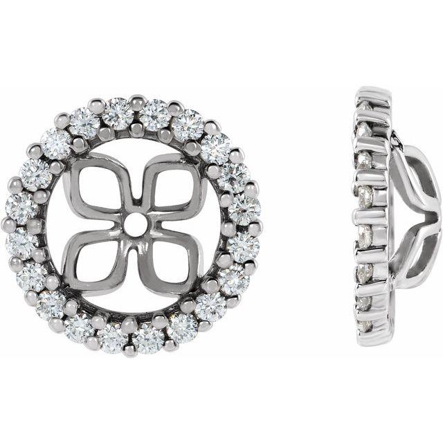 14K White 8.5 mm ID 1/2 CTW Diamond Earring Jackets