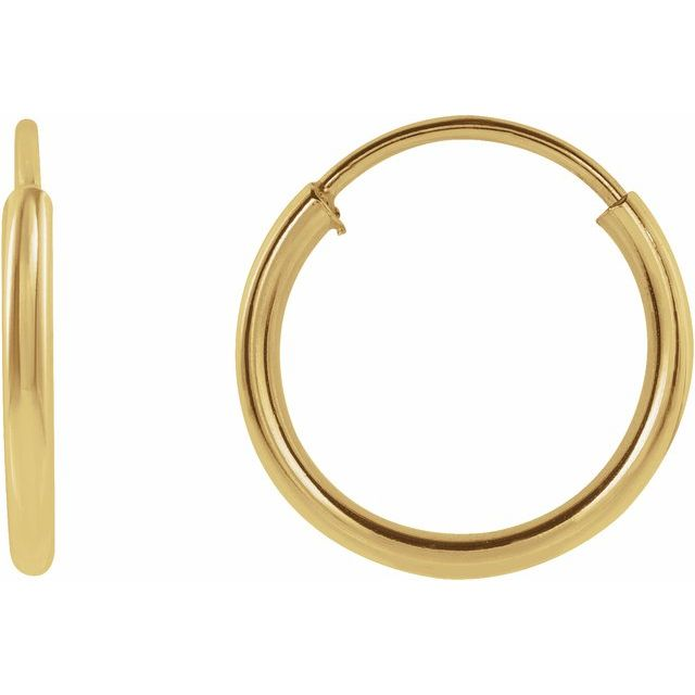 14K Yellow 10 mm Tube Hoop Earrings