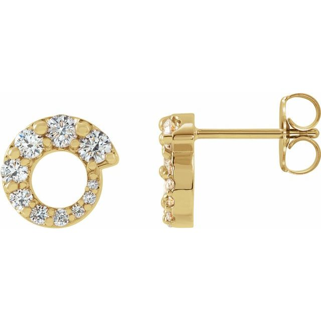 14K Yellow 1/2 CTW Diamond Graduated Circle Earrings