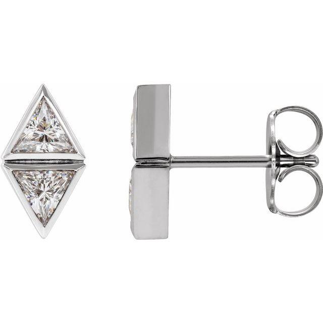 14K White 1/6 CTW Diamond Two-Stone Bezel-Set Earrings
