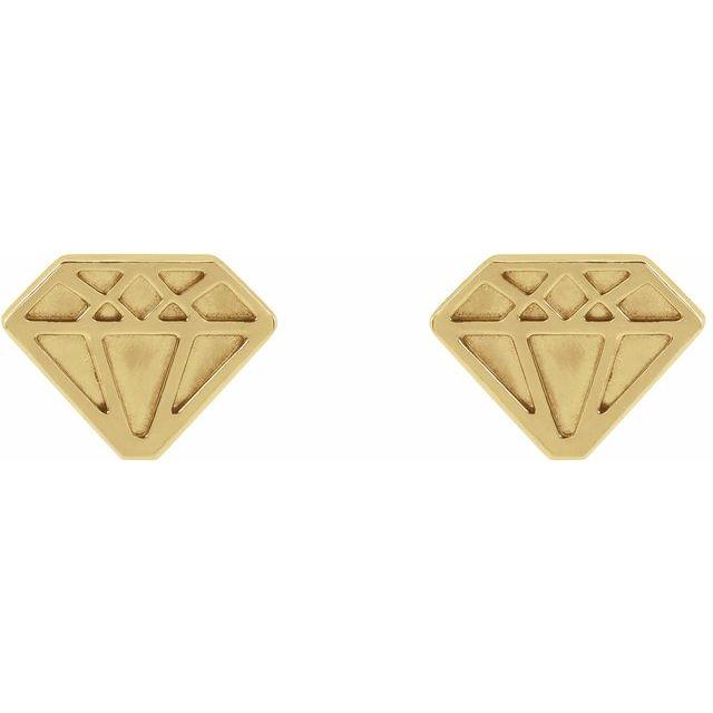 14K Yellow 8.7x6.5 mm Tiny Diamond Earrings