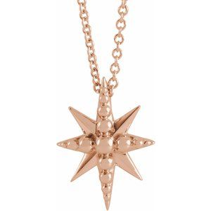 "14K Rose Beaded Starburst 16-18"" Necklace"