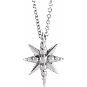 """Sterling Silver Beaded Starburst 16-18"""" Necklace"""