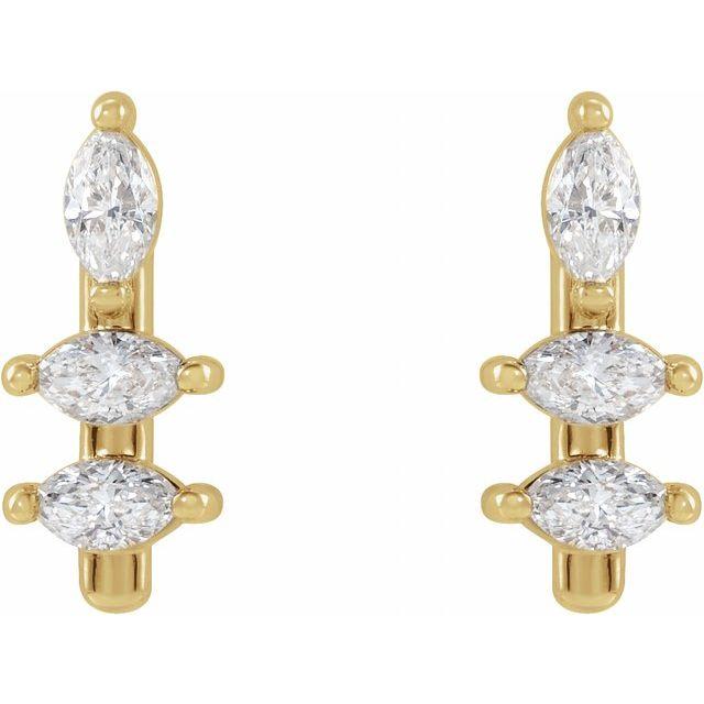 14K Yellow 1/5 CTW Diamond Bar Earrings