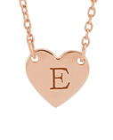 Personalized Jewelry | Rose Gold Heart Pendant with Engraved Letter E