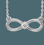 Heart-Felt Symbols | White Gold Infinity Pendant with Diamond Center