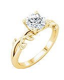 Bridal Styles | Yellow Gold Solitaire Round-Cut Diamond Engagement Ring With Floral Band