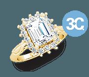 Flexible 3C Designs: Emerald-Cut Halo Diamond Ring in Yellow Gold